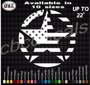 Military Star Will Fit Jeep Wrangler American Flag Star Army Decal Stickers