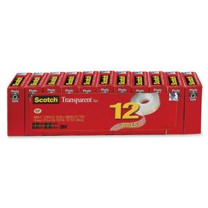 Scotch Glossy Transparent Tape 0 75 Width X 83 33 Ft Length 1 Core