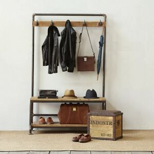 Industrial Pipe Clothing Rack Pine Wood Shelving Shoes Rack Cloth Hanger Pipe Sh
