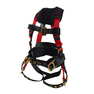 3d ring Construction Harness With Back Support And Tongue Leg Strap Red sph c01