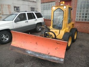 Military Surplus Low Hour Diesel Skid Steer W Meyer Snow Plow enclosed Cab