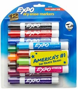 Expo Low odor Dry erase Markers Chisel Point Assorted Colors 12 Ea pack Of 2