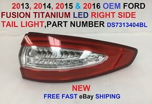 2013 2016 Oem Ford Fusion Titanium Right Side Led Tail Light Assembly Ds7313404b