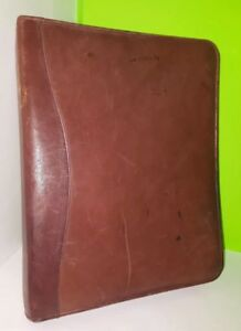 Used Scully Brown Leather Portfolio Zip Binder Notebook Full Size 11x13