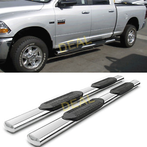 2pcs 5 Oval S s Side Step Nerf Bars Fit 09 18 Ram 1500 10 18 2500 3500 Crew Cab