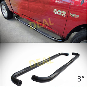2pcs 3 Round Blk Side Step Nerf Bars Fit 09 18 Dodge Ram 1500 Quad extended Cab