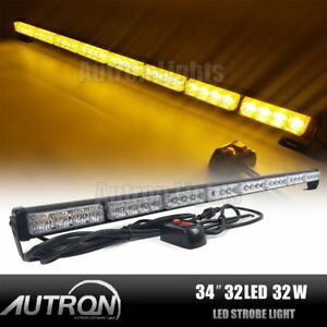 33 8 32w Led Amber Emergency Traffic Advisor Directional Arrow Strobe Light Bar