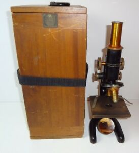 Bausch Lomb Optical Microscope W Wooden Case Pat 1915