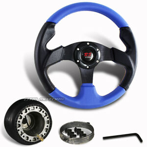 320mm Black Blue Pvc Leather Racing Steering Wheel Hub For 84 04 Ford Mustang