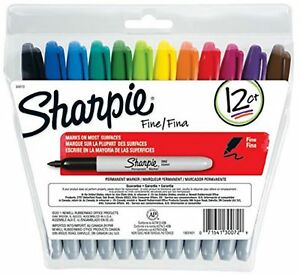 Sharpie Permanent Markers Fine Point Assorted Colors 12 Ea pack Of 2