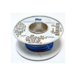 Alpha Wire 1808 24 Awg Silver Plated Solid Copper Blue Teflon Jacket Part Spool