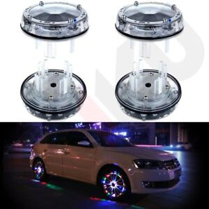 4x Colorful Led Solar Car Wheel Signal Tire Valve Cap Light Flash Decor Lamp