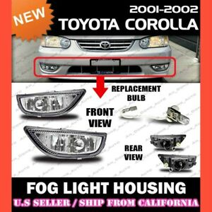For Toyota 2001 2002 Corolla Replacement Fog Lights Housing Lamp Pair