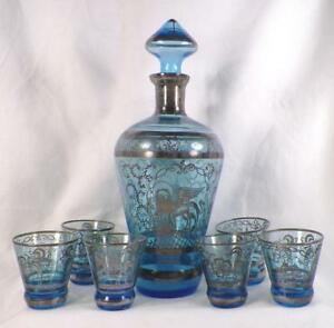 Antique Decanter 6 Shots St Mark Basilica Campanile Silver Overlay Blue Glass