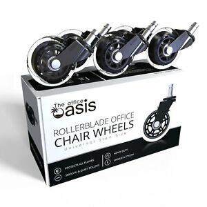 Office Chair Caster Wheels set Of 5 Rollerblade Style Universal Fit