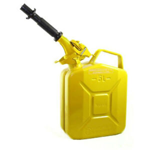 Wavian 3026 1 3 Gallon 5 Liter Steel Gasoline Fuel Jerry Can With Spout Yellow