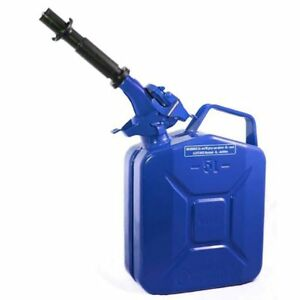Wavian 3028 1 3 Gallon 5 Liter Steel Gasoline Fuel Jerry Can With Spout Blue