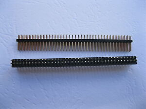 50 Pcs 1 0mm 2x50 100pin Male Breakable Pin Header Double Row Strip Gold Plated