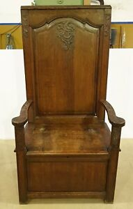 Antique French Renaissance Carved Walnut Monastic Cathedra Throne Chair