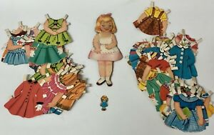 Vintage C1960 Paper Doll Stand Up Figure Huge Dress Lot Hard Stock Clothes