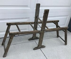 Antique Banner Upright Wringer Folding Wood Bench Clothes Drying Rack Primitive