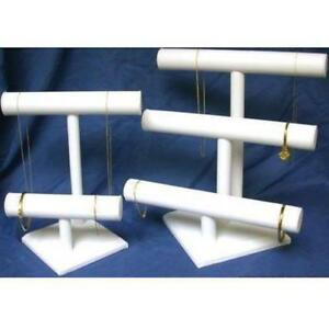 3 2 Tier White Faux Leather T bar Displays