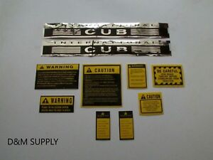 International Farmall Cub Tractor Decal Set With Caution Set