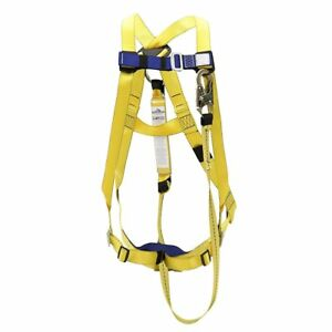 Fall Protection Chest Leg Harness Adjustable Shock Absorbing 6ft Lanyard Kit New