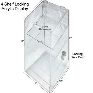 Hi Quality Clear Acrylic Retail Display Case 4 Shelf W Security Lock Usa Nib