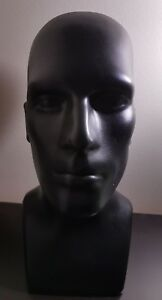 16 Tall Male Mannequin Head Durable Plastic Black