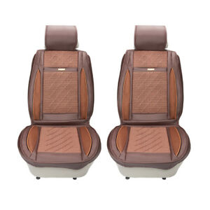 Compatible Pu Leather Car Seat Cover Cushion Back Support Waist Massage Brown 1x
