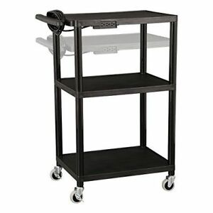 Black Plastic Utility Cart Power Strip Storage Shelf Casters Adjustable Height
