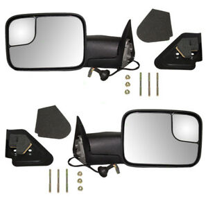 New Pair Power Tow Side Flip Up Mirror Glass Housing 94 97 Dodge Pickup Truck