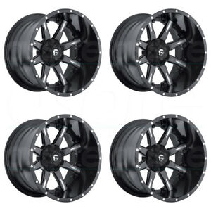 20x10 Fuel Nutz D251 8x180 19 Black Milled Wheels Rims Set 4