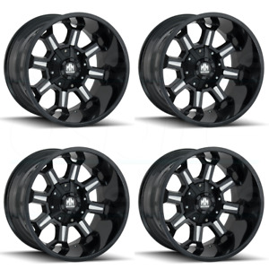 17x9 Mayhem Combat 8x6 5 8x170 12 Gloss Black Milled Wheels Rims Set 4