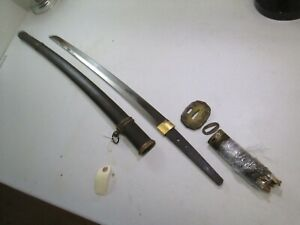 Old Long Japanese Officers Samurai Wakisashi Sword Signed Special Order Dated