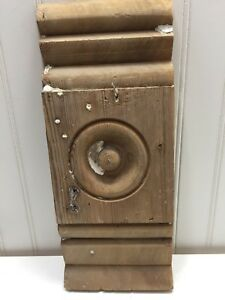Vintage Wood Plinth Blocks Trim Door Architectural Bulls Eye Molding 23438