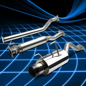4 Rolled Muffler Burnt Tip Catback Exhaust Stainless For 02 06 Rsx Base Coupe