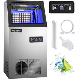 60kg 132lb Commercial Ice Maker Ice Cube Machine Built in Undercounter Lcd Panel