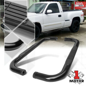 Black 3 Round Side Step Nerf Bar For 99 16 Chevy Silverado Sierra Standard Cab