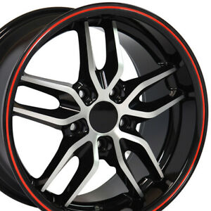 17x9 5 18x10 5 Black Redline C7 Stingray Style Deep Wheels Set Rims Fit Camaro