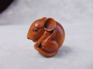 Carved Wood Netsuke Mouse Curled Up With Unknown Signature