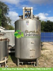 1000 Gallon Precision Stainless Steel 316 Stainless Steel Mixing Tank Jacketed