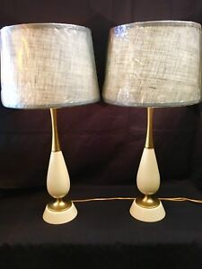 Pair Of Mid Century Table Lamps With New Shades