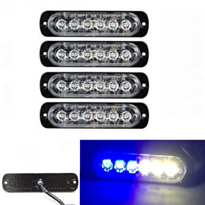 4x 6 Led Light Flash Emergency Car Vehicle Warning Strobe Flashing Blue White