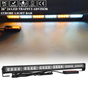 26 Inch Amber White Led Traffic Adviser Warning Emergency Strobe Stick bar Light