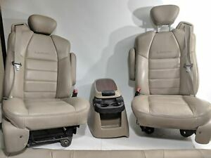 1999 2010 Ford F 350 F 250 Fx4 Lariat Beige Leather Seats Front rear W Console