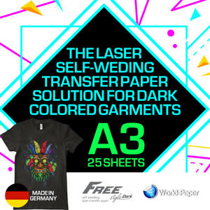 Heat Transfer Paper Laser Self weeding Trim Free Style For Dark A3 25 Sheets