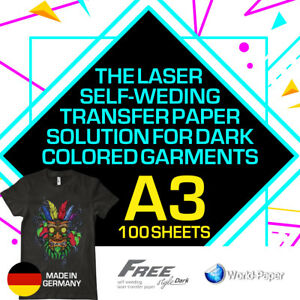 Heat Transfer Paper Laser Self weeding Trim Free Style For Dark A3 100 Sheets