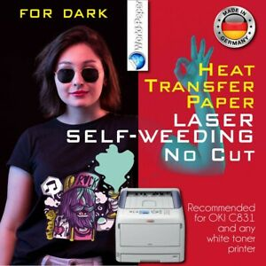 Heat Transfer Paper Laser Self weeding Trim Free Style For Dark A4 25 Sheets